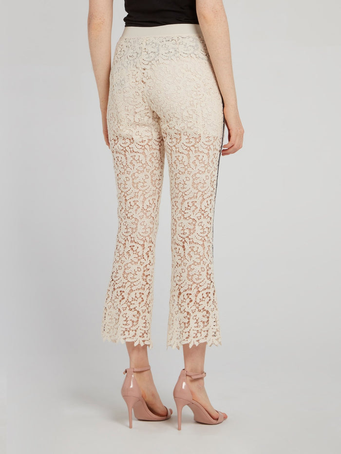 Beige Lace Flared Pants