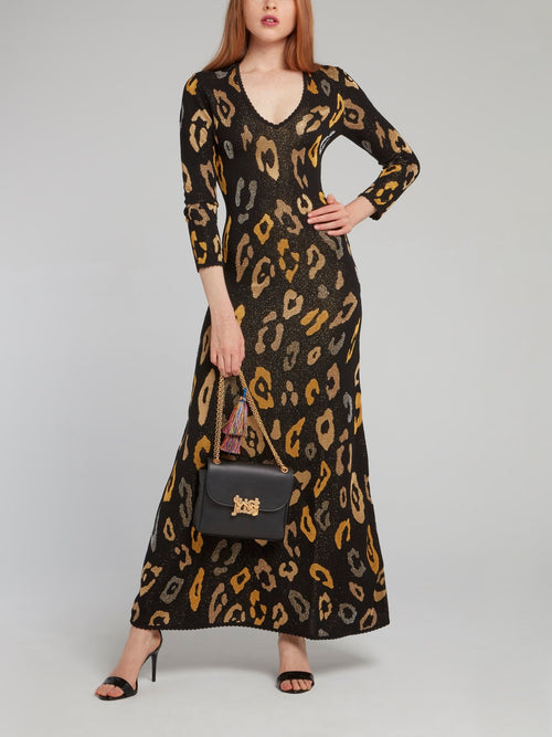 Black Glitter Fabric Pattern Print Dress