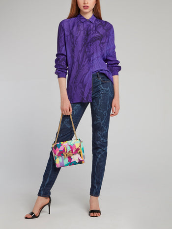 Purple Snake Print Long Sleeve Shirt