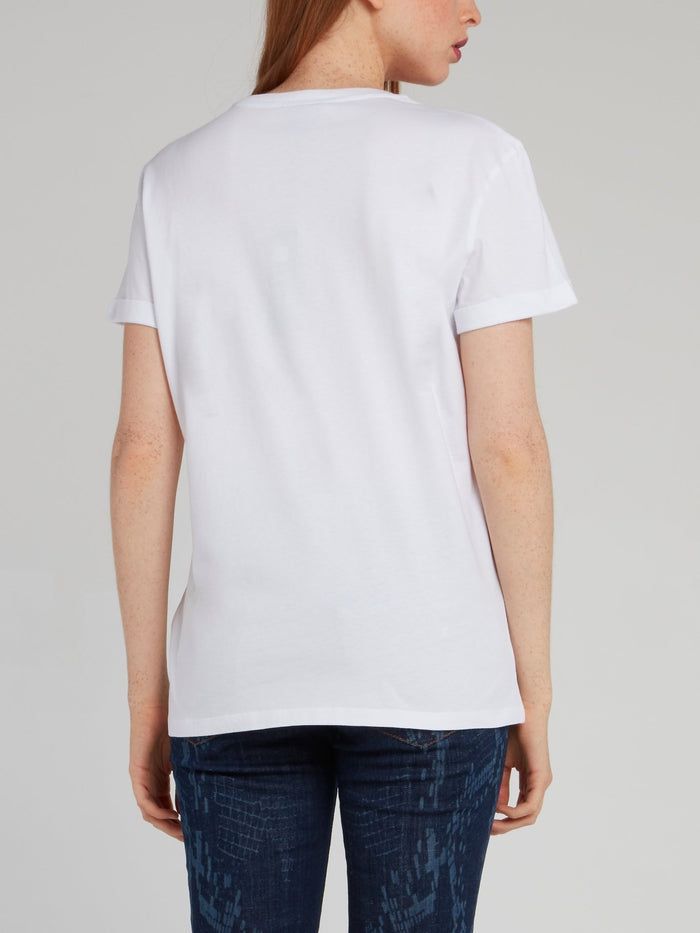 White Spray Print Logo T-Shirt