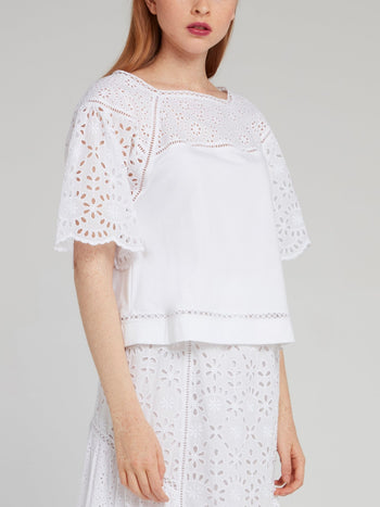 White Butterfly Sleeve Shirt