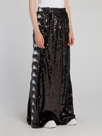 Kappa Black Sequin Maxi Skirt
