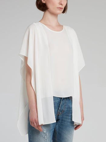 White Crewneck Cape Top