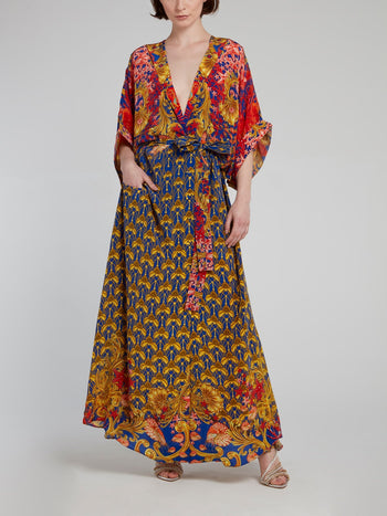 Baroque Print Kimono Cover Up Dress
