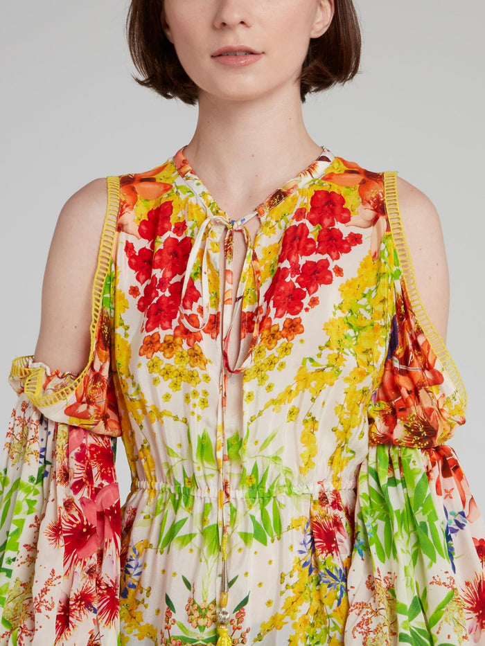 Balloon Sleeve Cold Shoulder Floral Top
