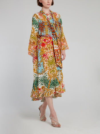 Oriental Print Bow Tie Midi Dress