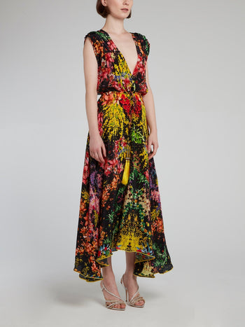 Corsage Plunge Midi Dress