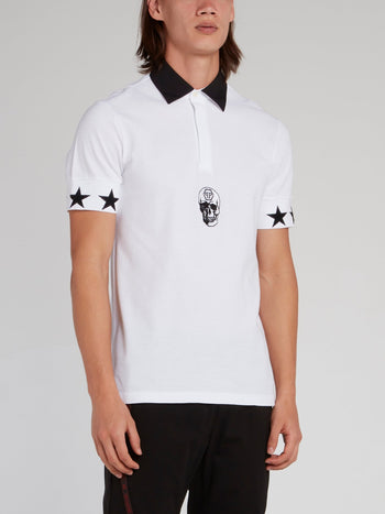 White Stars Skull Polo Shirt