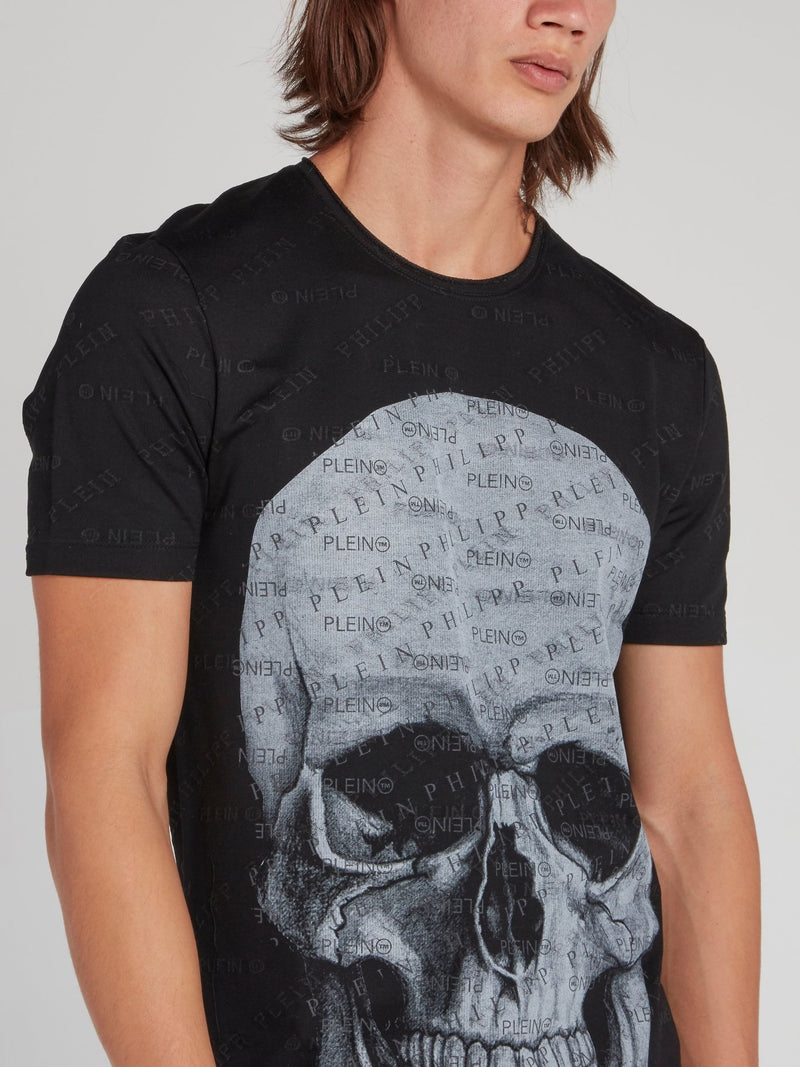 Black Monogram Print Skull T-Shirt