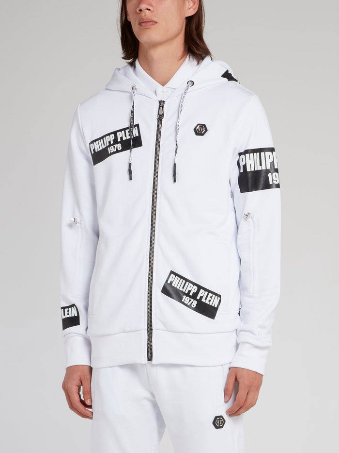 PP1978 White Logo Patch Sweat Jacket