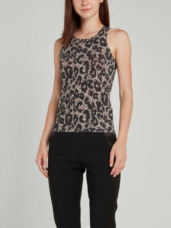 Leopard Print Knit Tank Top