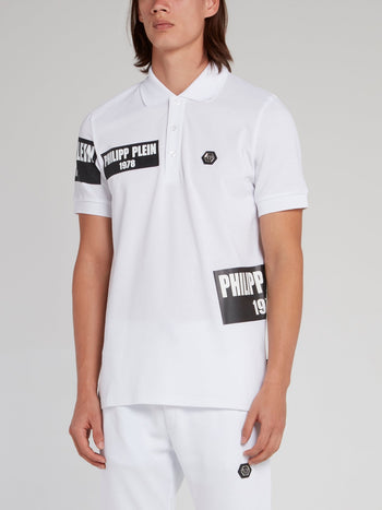 PP1978 White Logo Patch Polo Shirt