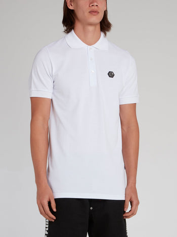 White Rear Skull Print Polo Shirt