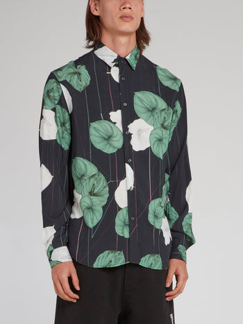 Floral Pinstripe Long Sleeve Shirt