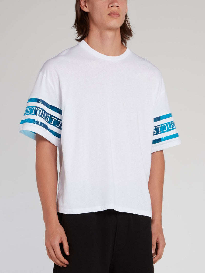 White Logo Sleeve Loose Fit T-Shirt