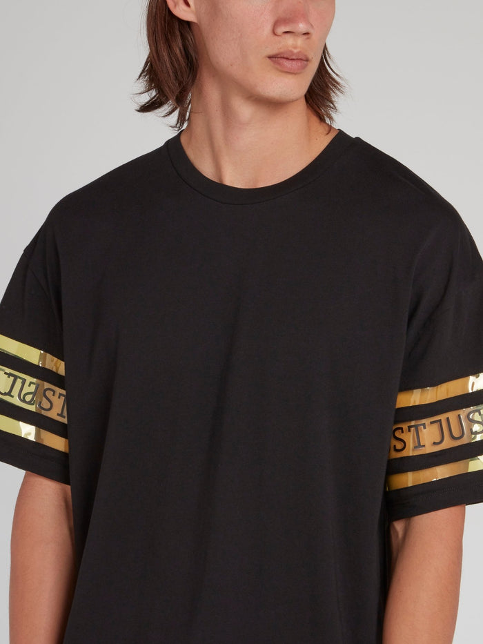 Black Logo Sleeve Loose Fit T-Shirt