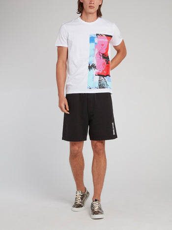 White Abstract Panel T-Shirt
