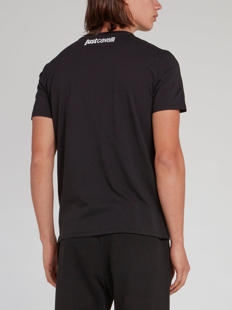Black Studded Panel T-Shirt