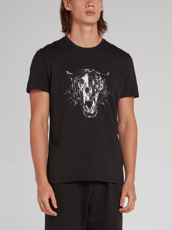 Black Leopard Head Cotton T-Shirt