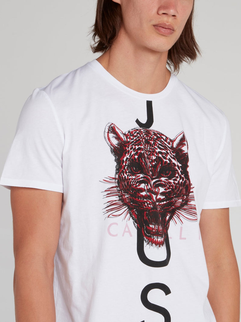 White Leopard Head Print T-Shirt