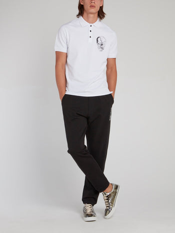 White Skull Print Polo Shirt