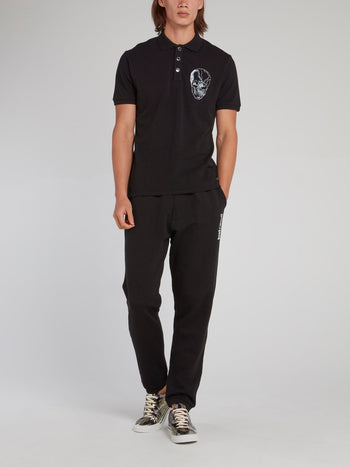 Black Skull Print Polo Shirt