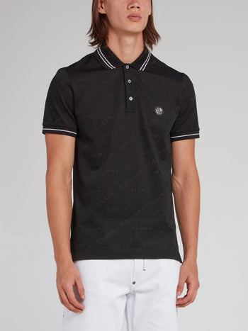Black Rear Skull Print Polo Shirt