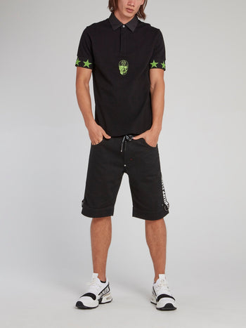 Black and Green Stars Skull Polo Shirt