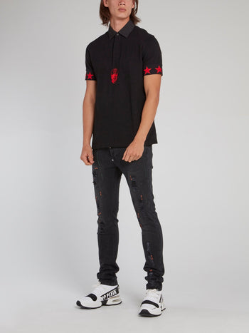 Black and Red Stars Skull Polo Shirt