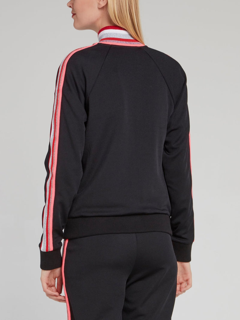 Black Ribbed Neck Stripe Panel Sweatshirt
