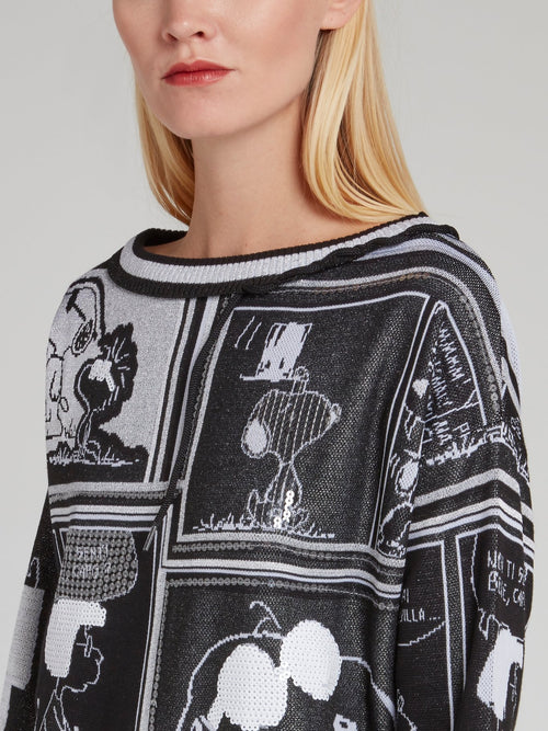 Snoopy Black Sequin Knitted Top