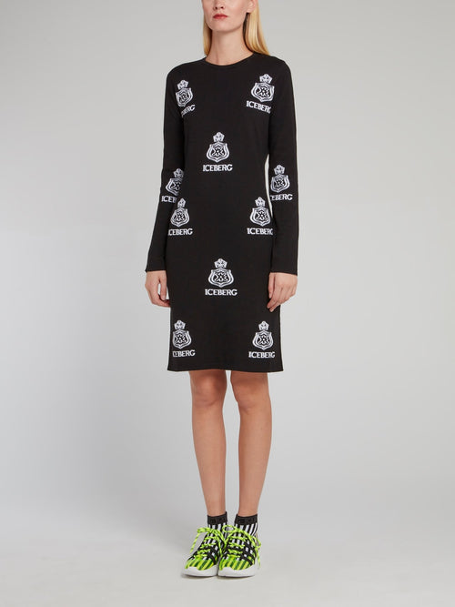 Black Monogram Print Knitted Dress