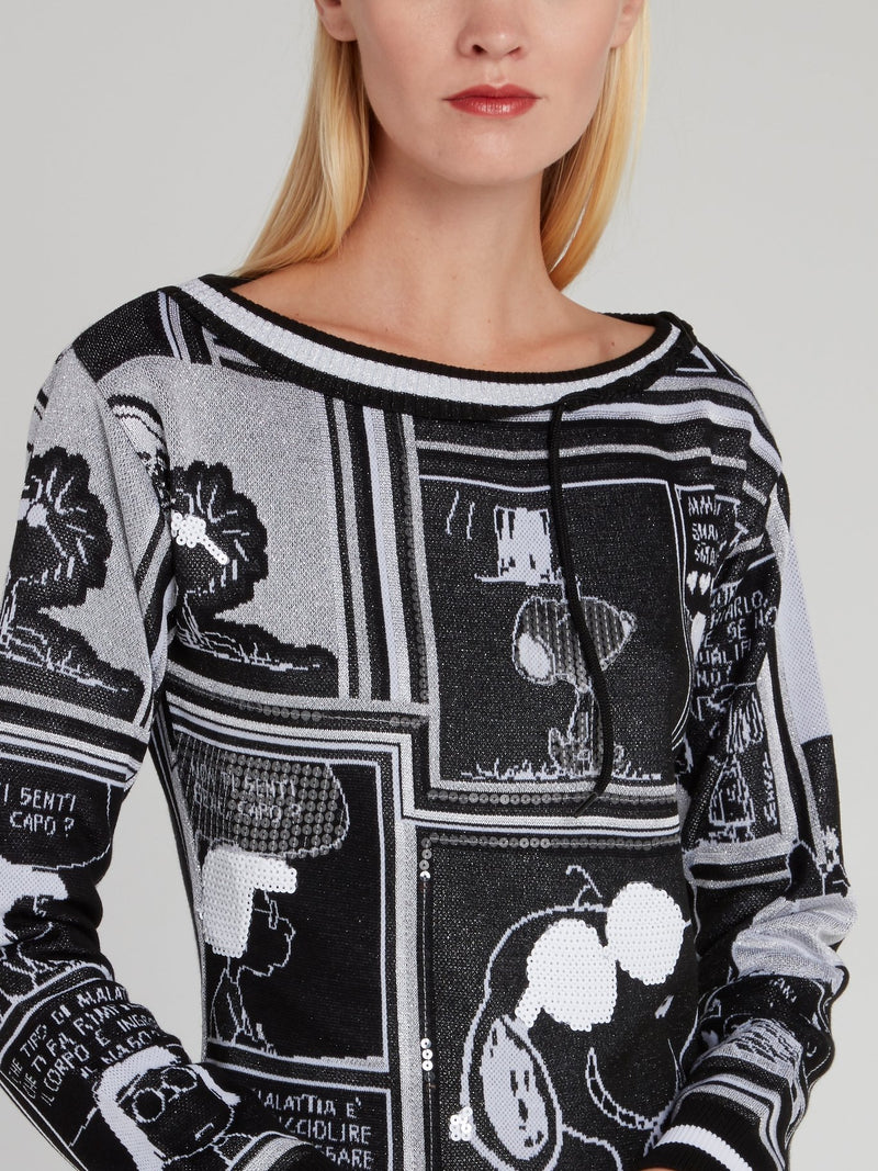 Snoopy Black Sequin Knitted Dress