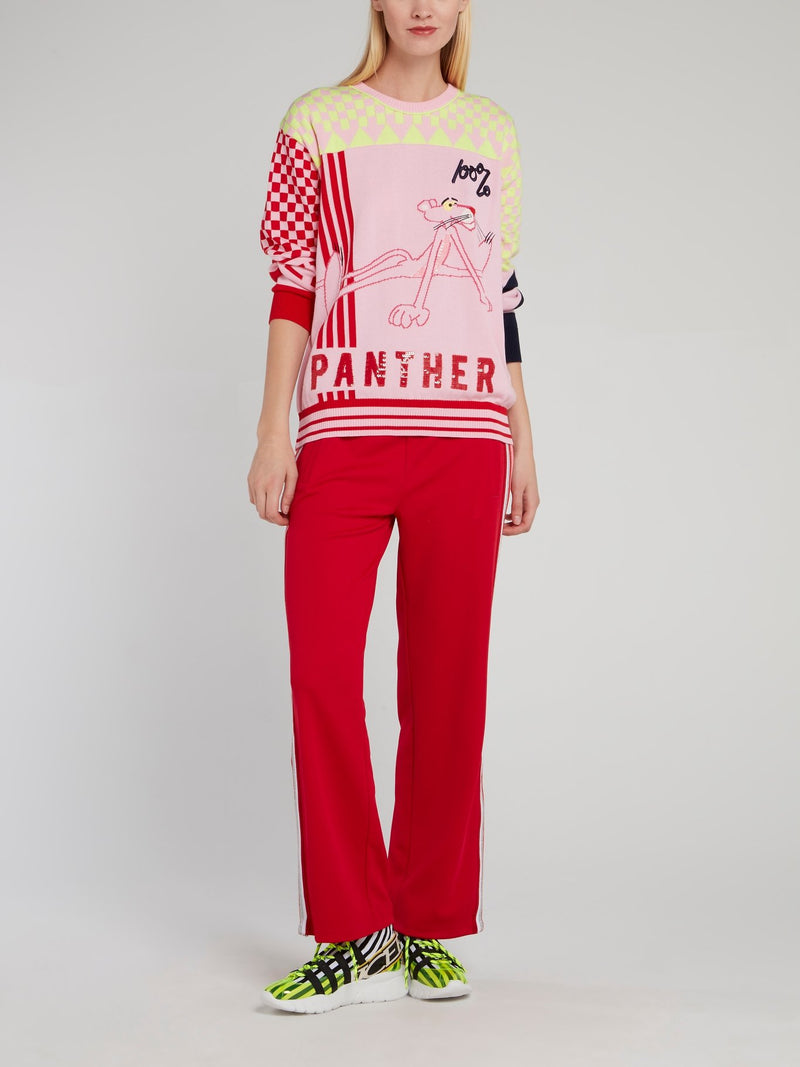 Red Side Stripe Flared Trousers
