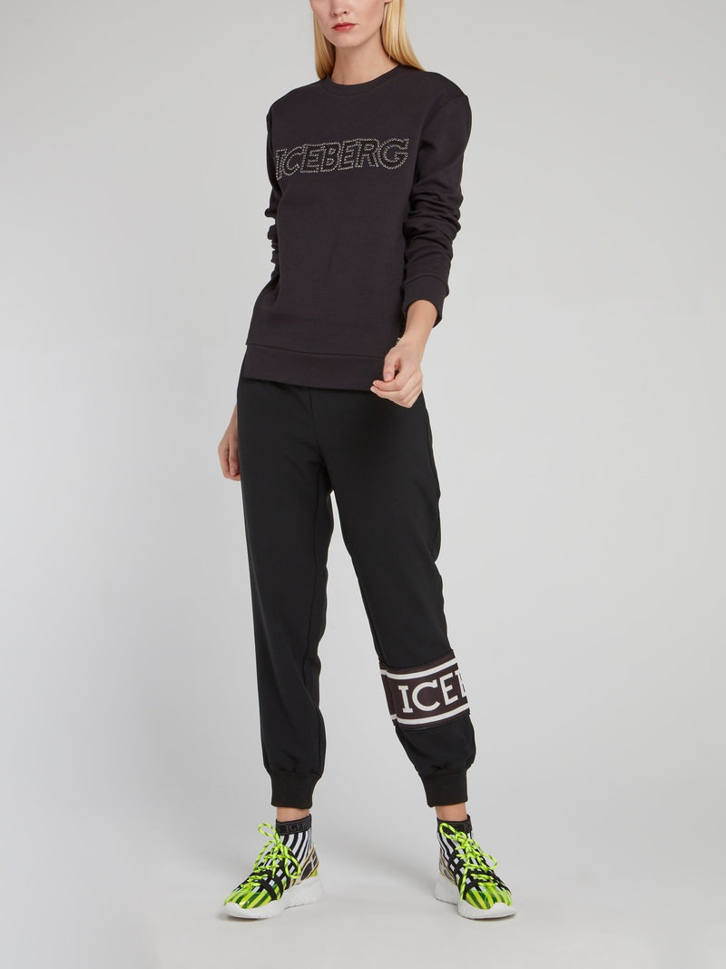 Black Studded Logo Sweatshirt