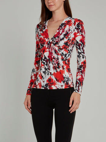 Splatter Print Draped Top