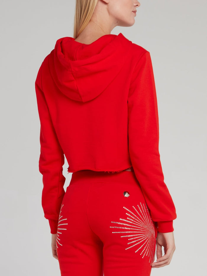 Red Studded Cropped Sweat Jacket