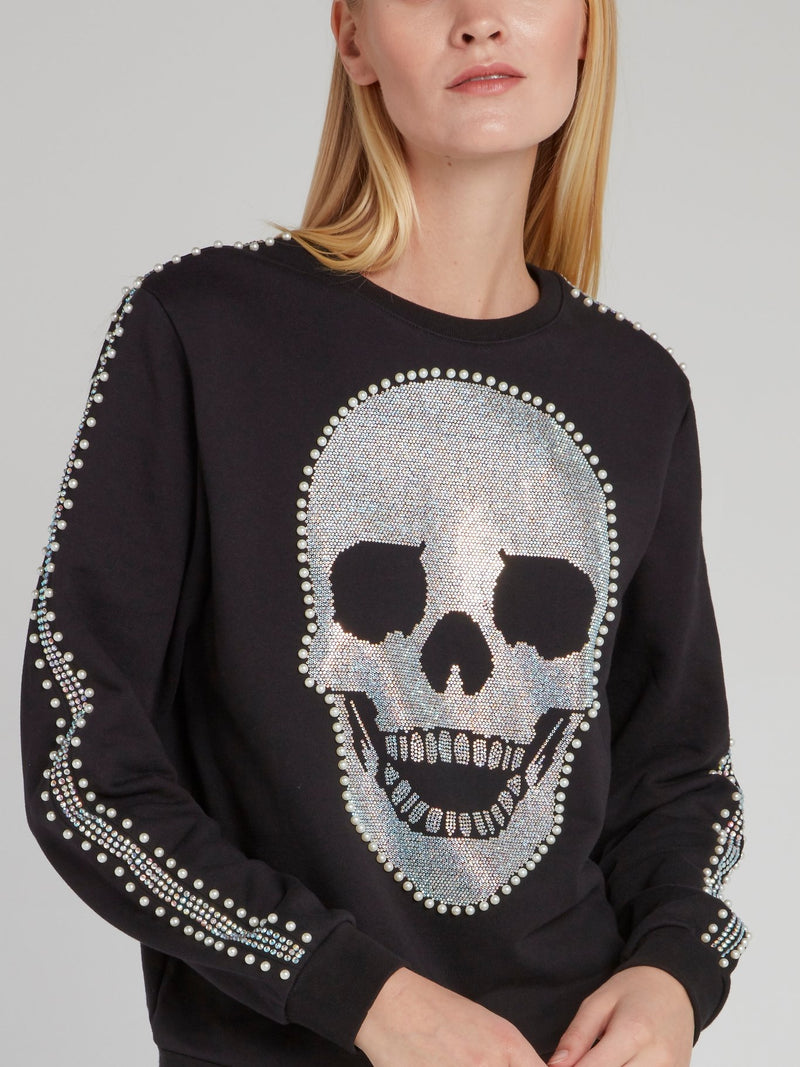 Black Pearl Detail Skull Sweatshirt