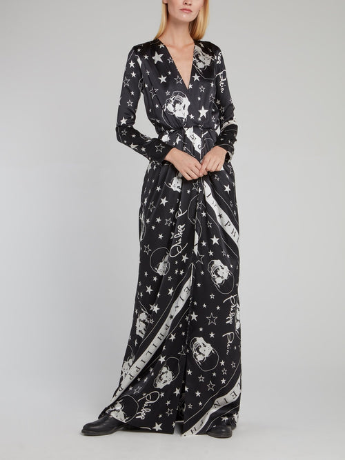 Black Stars and Skulls Surplice Dress