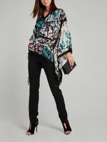 Leaf Print Flared Sleeve Kaftan