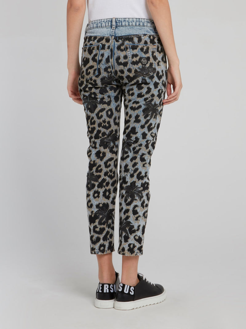Leopard Print Denim Capri Pants