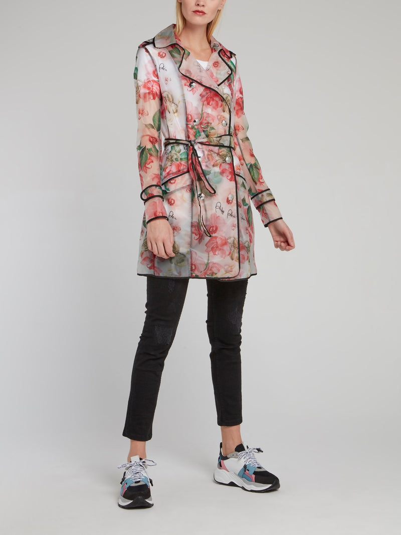 Floral Double-Breasted Trench Coat