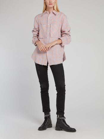Pink Tweed Oversized Shirt