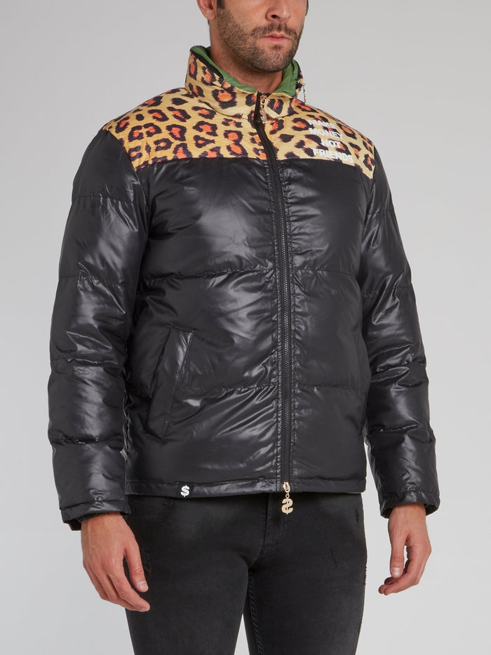 Black Leopard Panel Puffer Jacket
