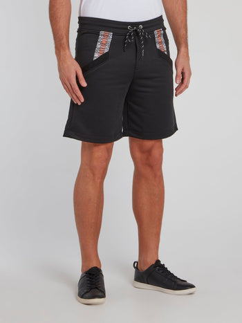 Black Logo Pocket Cotton Shorts