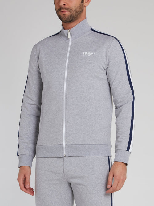 Grey Sport Logo Side Stripe Sweatshirt