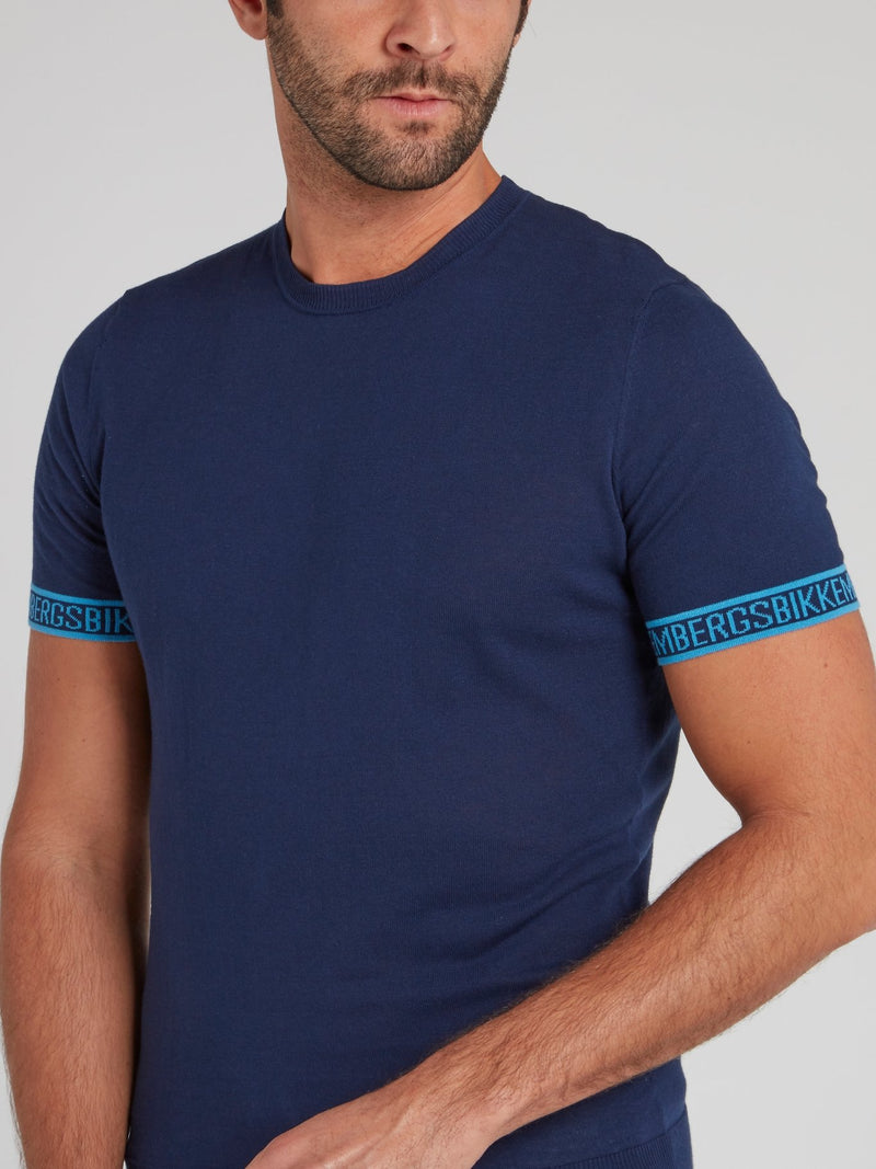 Navy Logo Tape Knitted T-Shirt