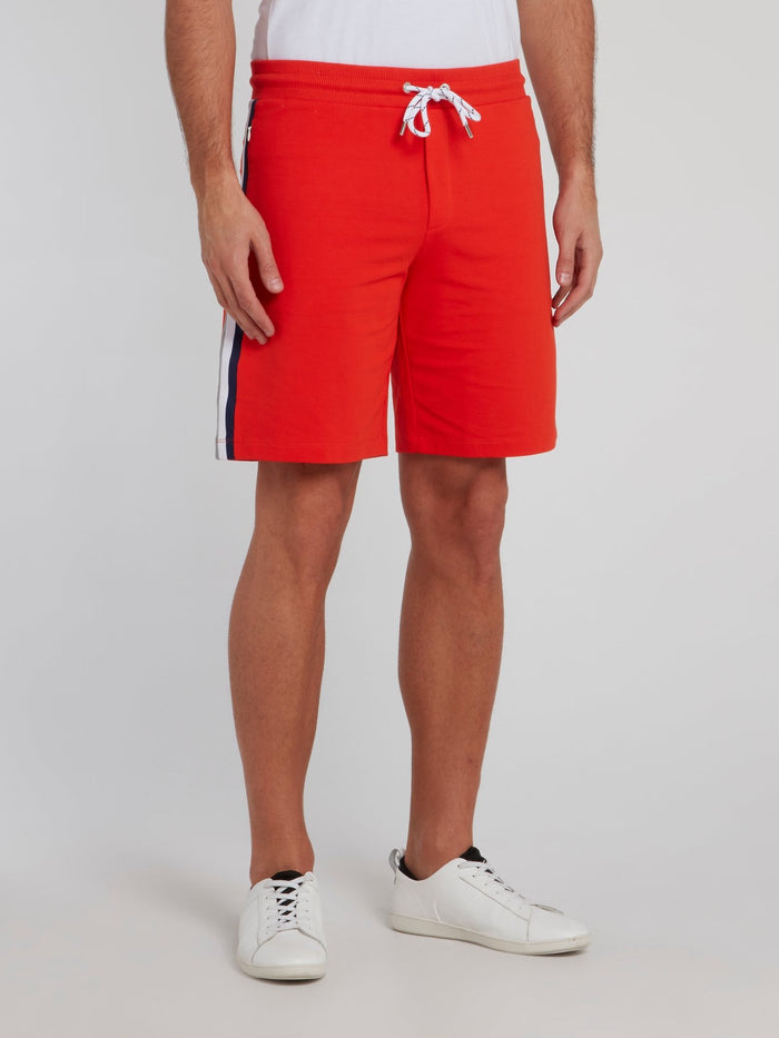 Orange Side Stripe Cotton Shorts