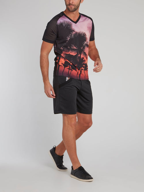 Black Perforated Sleeve Printed T-Shirt