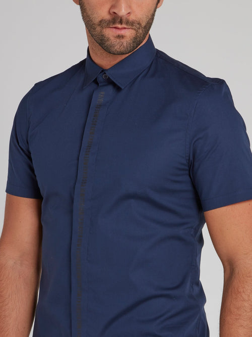 Navy Logo Lining Button Up Shirt